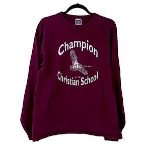 Vintage champion Christian school burgundy large